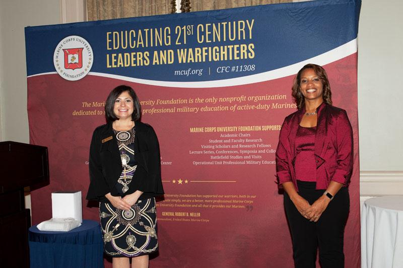 Marine Corps University Foundation Staff – Mrs. Leona Sachrison and Mrs. Mattrice Williamson.