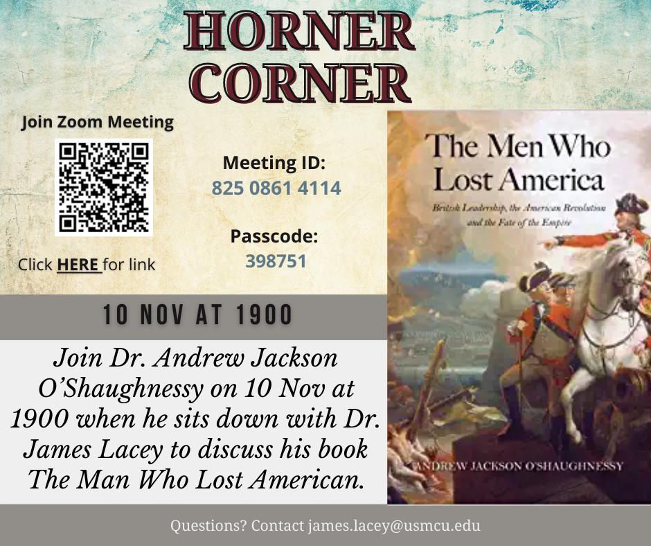Upcoming Horner Corner, 10 Nov