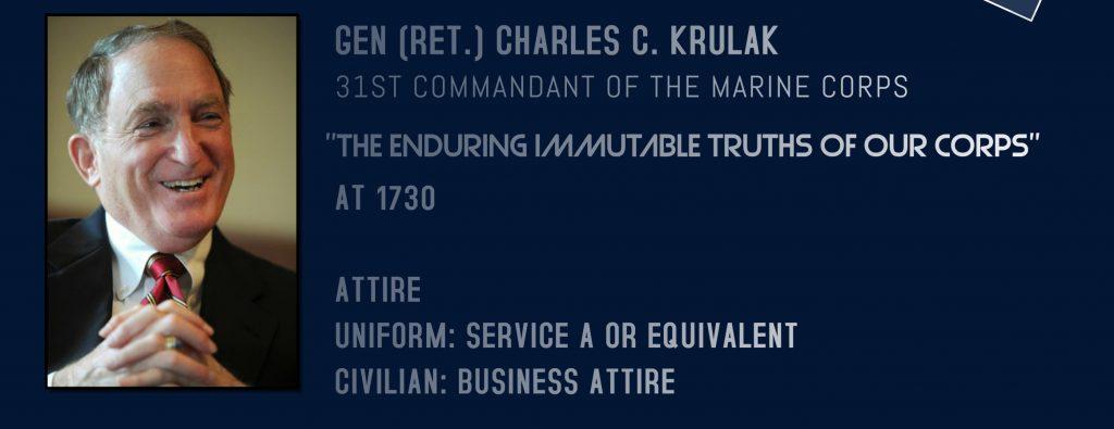 The 2018 Spring Erskine Lecture featured former USMC Commandant, General Charles C. Krulak, USMC (Ret.)